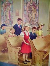 VINTAGE '62 HANDSAKER ORIGINAL CHRISTIAN CHILDREN LITHOGRAPH CHURCH HELP US GROW