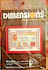 """Vintage 1989 DIMENSIONS Stamped Cross Stitch Kit Kid's Rules 7""""X 5""""  NEW Sealed"""