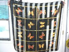(VS-6) vintage Black striped polyester square yellow orange butterfly scarf