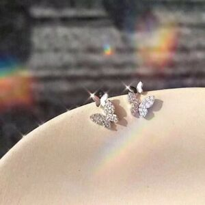 Shiny 925 Sterling Silver Plated Small Tiny Cute Butterfly Stud Earrings Gift