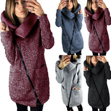 Warmer Damen Winter Wollmantel melierter Woll Parka Jacke Fashion Kunstleder