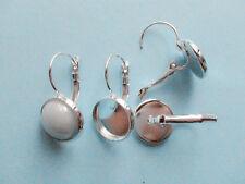 3 coppie ganci orecchini clip in ottone color argento 25x14mm fit 12mm cabochon
