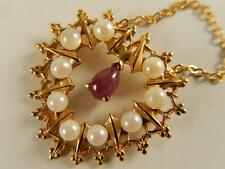 FABERGE 14k RUBY PEARL HEART PENDANT NECKLACE MIB Estate Signed Franklin MINT