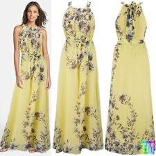Round Neck Sleeveless Floral Chiffon Dresses for Women