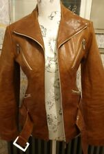 Womens Tan Leather Retro Style Jacket Brand New
