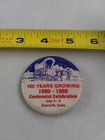 Vintage Epworth Iowa Centennial 1980 July 4th Festival pin button pinback **ee2