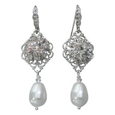Vintage Bridal Simulated Pearl Filigree Earrings with Crystal from Swarovski