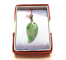 Handcrafted Jade Pendant Silver (White Gold Plated) Double Sided Carving Leaf
