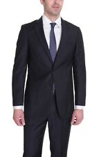 $350 Giorgio Forelli Classic Fit Blue w/ Pink Pinstripes 2 Button Suit 40L 34W