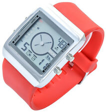 Bellos Herrenuhr Rot Analog Digital Kautschuk LED Alarm Licht D-60412112074420