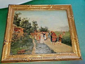 antikes Ölgemälde Spielmannszug Landschaft Leute Malerei Ölbild auf Leinwand