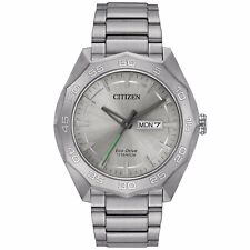 Citizen Eco-Drive Men's AW0060-54A Titanium Silver Tone 44mm Bracelet Watch