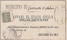 CASTELVETRO di MODENA: 1895 - Uff. Affari di Stato Civile - collettoria quadrata