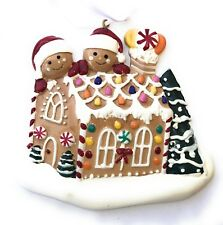 Gingerbread House Christmas Ornament with Two Gingerbread Men