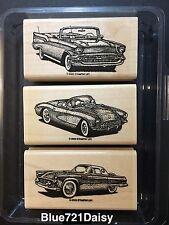 Stampin Up Classic Convertibles Masculine Corvette Car Rubber Stamp Set Lot 3