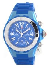 MICHELE TAHITIAN JELLY BEAN CHRONOGRAPH BLUE WATCH, Brand New with tags and case