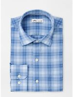 NWT $148 Peter Millar Dress Shirt Linen & Silk Blend Plaid Blue L/S Size XL