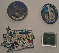 Space Needle Seattle Washington Fridge Magnets- Lot Of 4