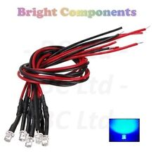 20 x Pre-Wired Blue LED 3mm Flat Top : 9V ~ 12V : 1st CLASS POST