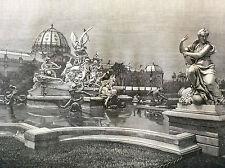 Exposition Universelle Paris 1889 Fontaine monumentale de Coutan estampe