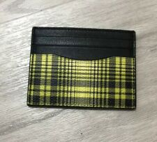 Coach Mens Slim ID Card Case With Soft Plaid Print In Neon Yellow Muti New