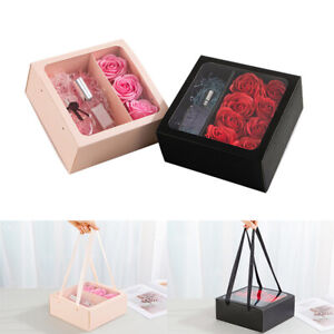Square Gift Box with Clear Window Drawer Display Florsit Flower Packaging Boxes