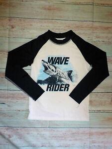 NWT The Children's Place Boys Shark Long Sleeve Rashguard Swimsuit Shirt 10-12