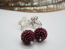 Handmade Garnet & Black Spinel & Sterling Silver leaf stud earrings