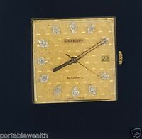 Juvenia Watch Movement 13211 Gold Diamond dial  Date Crystal