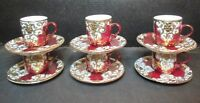 Gold Encrusted 6 Demitasse Cups & 6 Saucers Emperor Design Villa Handy Crafts
