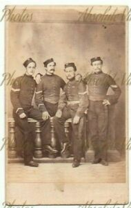 MILITARY CDV PHOTO GROUP OF SOLDIERS IN UNIFORM PORRAL STUDIO GIBRALTAR 1860S