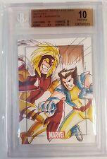 Marvel Heroes/Villain Sketch Card Wolverine vs Sabertooth Kat Laurang Graded 10