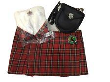 3 Pc TILTED KILT Girl Uniform, Size Medium, Top/Shrug, Skirt & Sporran