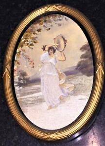 Exquisite Georgian Miniature Silk Embroidered Picture 'The Dancer' C 1800