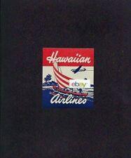 HAWAIIAN AIRLINES 1950's DOUGLAS DC-3 & CATAMARAN ART GLUE STYLE BAGGAGE LABEL