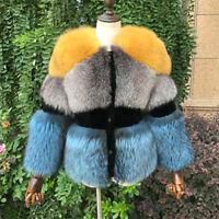 Women's100% Real Natural Vulpes Silver Fox Fur Coat Sheep Shearing Overcoat