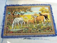 """Vintage Horses Grazing Large Wall Art Tapestry 74"""" x 48"""" with Fringe Ranching"""