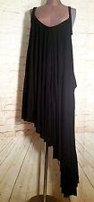 PEACE LOVE WORLD Boheme Asymmetrical Hem Draped Dress Jersey Knit Black Small