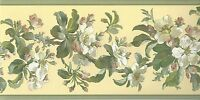 Wallpaper Border Kathy Ireland Floral Dogwood Magnolia Vine on Yellow Background