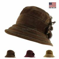 Striped Velvet  Sun Outdoor Bucket Boonie Cap Warm Hat Women Men Fall Winter