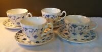 Myott Staffordshire Cup and Saucer - Finlandia Blue/White Swirl Pattern Set of 4