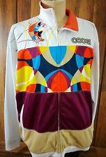 Coogi Men's Embroidered Track Jacket Size XXL White Multi-Color Orange Collar