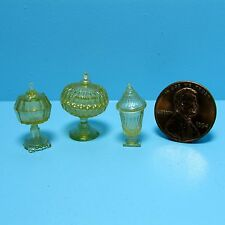 Dollhouse Miniature Chrynsbon Candy Dish Set in Amber ~ CB68A