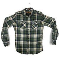 SUPERDRY Men's Plaid Long Sleeve Button Front Shirt Green Flannel Medium British