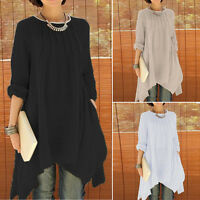 Women Long Sleeve Loose Asymmetrical Pleated Blouse Shirt Dress Irregular Tops