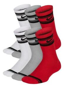 Nike Youth Everyday Cushioned Crew Socks 6 Pack (Red, White, Grey) Size 3Y-5Y