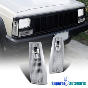 For 84-96 Jeep Cherokee Comanche Corner Lamps Front Signal Lights Pair