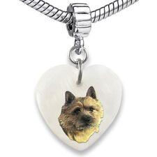 Norwich Terrier Heart Mother Of Pearl European Charm Bead For Bracelet EBS96