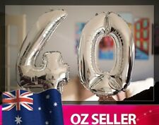 """Silver Foil Helium number balloon - 40th Brithday Party 40"""" inch 100cm AUS STOCK"""
