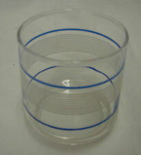 Juice Glass Clear Blue White Striped Orange Fruit Shallow Kitchen Vintage